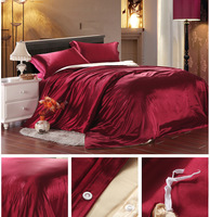 FEDEX Free shipping Satin Drill Luxurious Red Wedding 4PCS duvet cover set