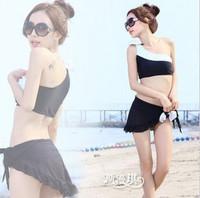 Popular new Swimwear female swimsuits small push up piece set one shoulder dress black and white bikini spa Free Shipping