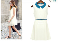 Free shipping 2013 summer fashion peter pan collar solid color slim turn-down collar chiffon one-piece dress elegant Coats