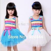 2014 New Arrival Children Summer Clothing, Girls Rainbow Dress, Sleeveless Shiffon Ball Gown Girl's dress   t031