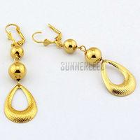 New Fashion Jewelry Women Girls 18K Yellow Gold Filled Earrings Beads Water Drop Dangles Gold Jewellery Free Shipping GFE18