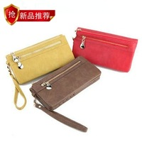 New arrival 2013 vintage nubuck leather double zipper hasp portable long design women's wallet women's wallet