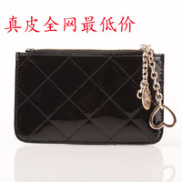 Women's plaid coin purse women's japanned leather genuine leather cowhide ultra-thin mobile phone bag