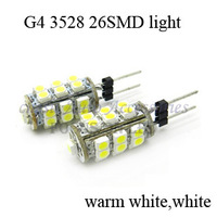 100 pcs G4 3528 26SMD home reading Light Marine Boat Lamps white Warm White led light bulbs in free shipping