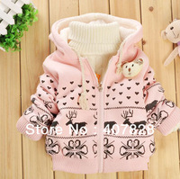 2013 Baby Coat Kids Jacket Children's Reindeers Cartoon Fawn Cashmere Winter Coat Long Sleeve Baby Girl's Coat Baby Jacket Pink