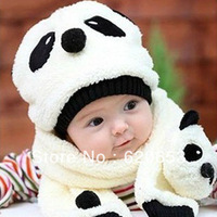 Hot Children Hat 100% Wool Hat+Scarf Two Piece Set Panda Children Animal Cap Free shipping &wholesale