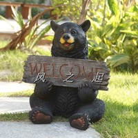 Garden decoration Resin black bear welcome sign