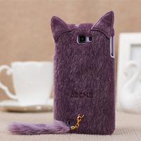 Cute Animal 3D Plush Cat TPU Case Soft Protective Rubber Back Cover for Samsung Galaxy Note 2 II n7100