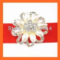 Free Shipping ! 100pcs/lot 40mm Flower Pearl&Rhinestone Brooch Pins,Wedding Bridal Pins ,Bouquet Pin