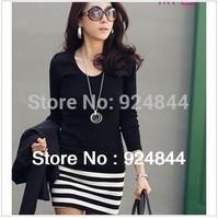 New arrival  Long Sleeve Dresses Women Korean fashion Slim Sexy striped mini OL dress n093