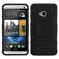 Black Impact Rugged Armor Hybrid Case Cover for HTC ONE  M7 with Kickstand + Screen