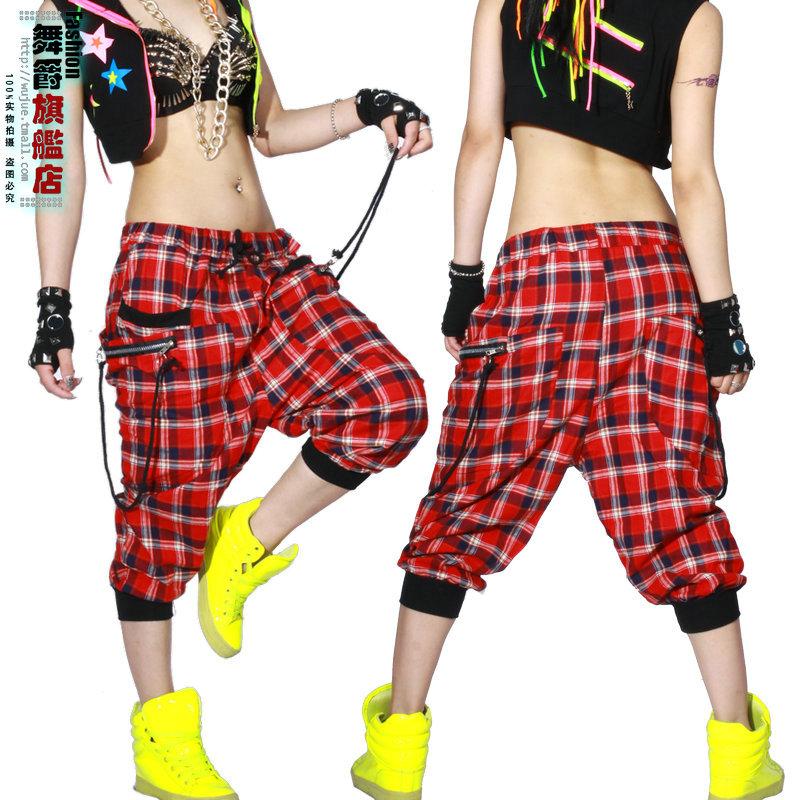 Cool Women Baggy Harem Pants Hippie Rope Plaid Hip Hop Dance Casual Pants