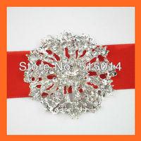 Free Shipping ! 100pcs/lot 40mm Wedding Invitation Brooches , flatback ,silver plated.Rhinestone cluster ,Wedding Embelishment