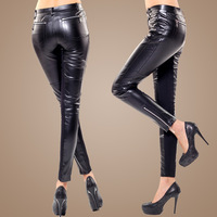 2012 autumn and winter fashion women's skinny pants PU faux leather pants cloth patchwork pencil pants cone