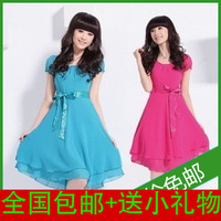 2t2 2014 summer fashion clothing plus size slim o-neck short-sleeve chiffon one-piece dress