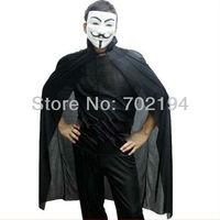 5 set/lot Hotsale Combination Halloween Black cloak + V mask in free shipping