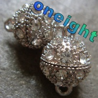 Free Shipping 10pcs/lot 12mm Rhinestone Ball Magnetic Jewelry Clasp Findings Silver Plated Wholesale