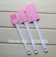 Free Shipping Hot Selling 3pcs/lot Silicone Shovel and Brush Silicone Cream Scraper Flour Scraper Cake Decorating Tools(Br-002)