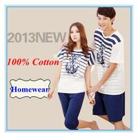 Free Shipping 100% All Cotton Summer Lover's Corsair Short Sleeve Homewear Men & Women Knitted Pajamas  Short Sleeve Short Pants
