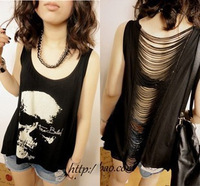 2013 new women T shirts Skull Punk Singlet Dress Vintage Tank Pop Sexy Top long Tee T-Shirt 2 colors 476#