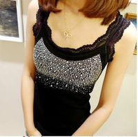 2013 summer spaghetti strap vest female basic all-match diamond-studded lace decoration butterfly body small vest