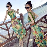 Beach dress bohemia dress full one-piece dress plus size ruffle chiffon mm