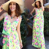 Bohemia full dress women's summer v-neck dress spaghetti strap one-piece dress