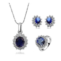 Royal Princess Diana Kate Blue Sapphire 18K Gold Plated Jewelry Set Necklace+Ring+Earrings