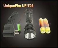 10sets,10PCS/LOT UniqueFire UF-T03 Cree XM-L U2 Rechargeable LED Flashlight Searchlight Torch 1200LM +2x18650 battery