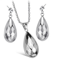 Wholesale\Retail! Fashion Jewelry Sets Stainless Steel Silver Water Drop Neklace/Earrings For Women, Lowest Price Best Quality