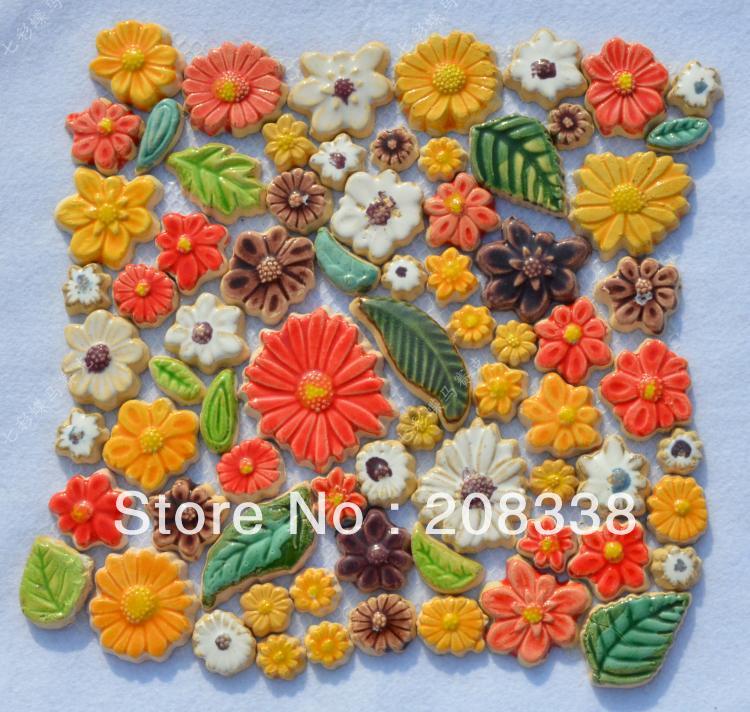 Telha de mosaico de cerâmica flor colorida cerâmica cerâmica da telha de mosaico telha Handmade mosaico(China (Mainland))