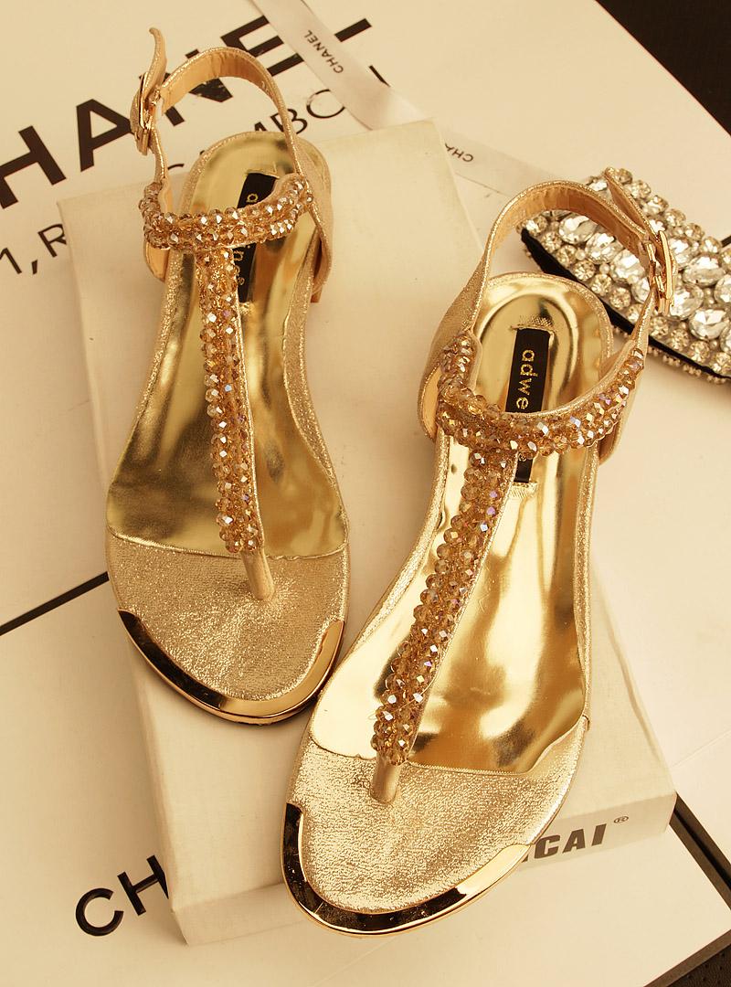Flat rhinestone sandals for wedding - Flat Sandals Gold Black Colors Lady Flats