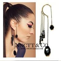 MixedLot $14 Free shipping Fashion punk black gem tassel ear hook earrings