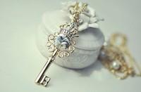 MixedLot $14 Free shipping Shining upperscale beautiful big gem key pearl dot double layer long necklace