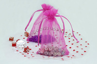 Free Shipping Wholesale 100Pcs fuchsia  Drawstring Organza Pouch Bag/Jewelry Bag,Christmas/Wedding Gift Bag