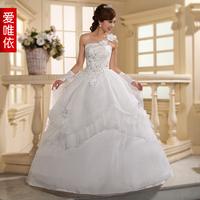 Love wedding 2013 wedding one shoulder wedding dress oblique flower sweet princess wedding dress
