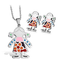 Wholesale\ Retail! Fashion Jewelry Sets Stainless Steel Colorful Neklace & Earrings For Women & Girl, Lowest Price Best Quality