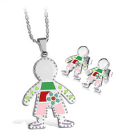 Wholesale\Retail! Fashion Jewelry Sets Stainless Steel Colorful Little Boy Neklace/Earrings For Women, Lowest Price Best Quality