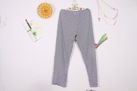 Free shipping 2013 autumn foreign trade large size women loose striped trousers modal pajamas 100% in-kind shooting