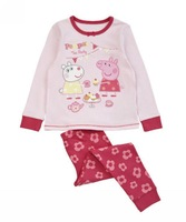 Free shipping 1set retail 100% cotton 3~7age pink peppa pig cartoon girls clothes set shij062