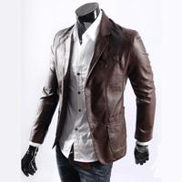 Новый пожилой отец установлены кожаные куртка теплые толстые бархатную шубу моды бренда pu кожа пальто/л-xxxl