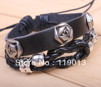 Palace retro rose about rivet leather braided bracelet wholesale jewelry