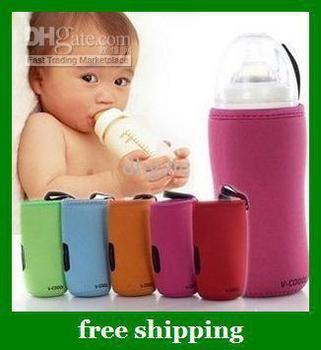 Hot V-COOOL Baby Milk Bottle bag Set Glass feeding Bottles Insulating Sheath S L gifts Free shipping