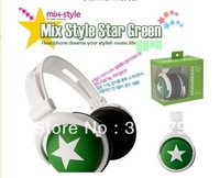 Mix style headphone star green style headset earphone for MP3/MP4 10/lot free shipping