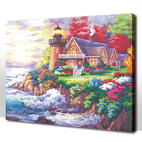 Frameless Diy digital oil painting 50 65cm seaside villa paint by number kits acrylic painting unique gift for child