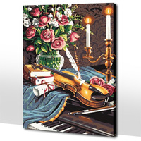 Frameless Diy digital oil painting 50 65cm violin and candle paint by number kits acrylic painting unique gift for child