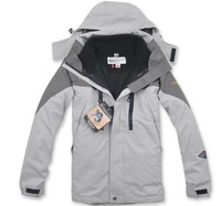 2013 NEW gray outdoor men Jackets , breathable waterproof windproof, 2-pieces Rainproof softsmell, men wear sport Jacket, BRAND