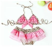 2013 baby swimsuit girl leopard print lace swimwear Children (bikini+shorts+hat) summer kids beach wear 3pcs/set Free Shipping!