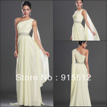 WholeSale Fashion 2013 A Line One Shoulder Ruched Sweep Train Chiffon Custom Made Evening Dress