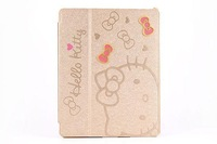New arrival  Leather smart cover Luxury style Hello kitty stand PU leather case for ipad 2/3/4